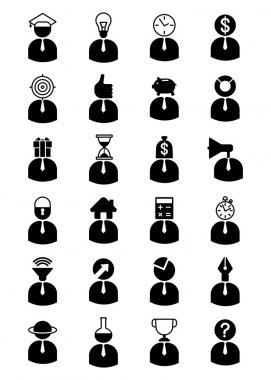 set of Icons with business characters
