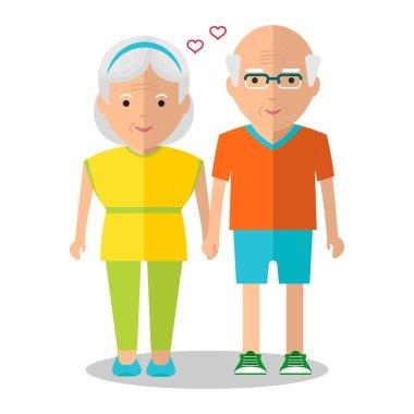elderly couple sport walk