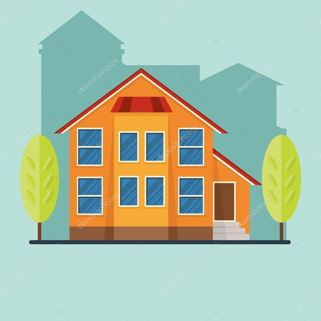Plat maison de ville illustration de dessin animé de maison icône de la maison objets isolés sur fond blanc vecteur par