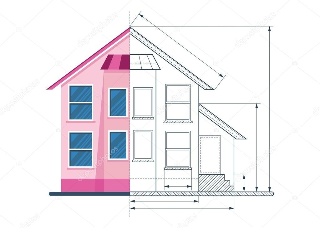 Circuito di casa disegno tecnico vettoriali stock quarta 116695408 - Disegno progetto casa ...