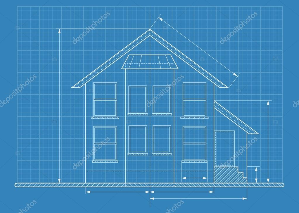 Technical drawing house blueprint stock vector quarta 117165394 wireframe blueprint drawing of classic house objects isolated on white background flat cartoon vector illustration vector by quarta malvernweather Image collections