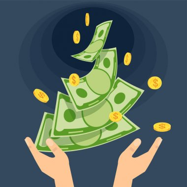 Hands throw money into a black hole. Economic crisis. Waste and ruin. Poverty and misery. Bankruptcy, collapse and defeat. Falling economy. Flat vector cartoon illustration. icon