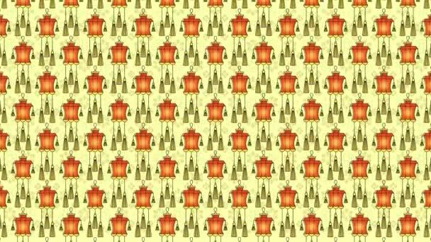 Čínské papírové lucerny vzor Plochá animace.