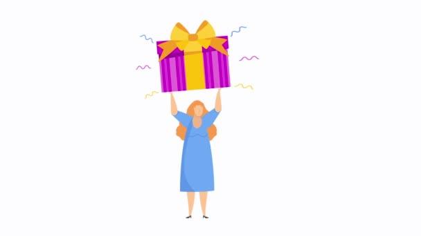 Mädchen steht mit riesigen Schachteln mit Geschenken