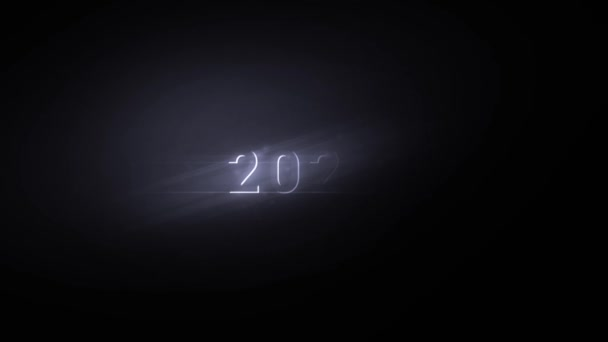 Cinematic intro of the 2022 lettering from the dark in a radiant glow