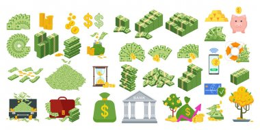 Set a various kind of money. Packing in bundles of bank notes, bills fly, gold coins. Flat vector cartoon money illustration. Objects isolated on a white background. icon