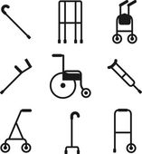 Different styles of walkers. Flat style color vector symbols iso