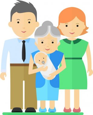 family with baby and grandmother