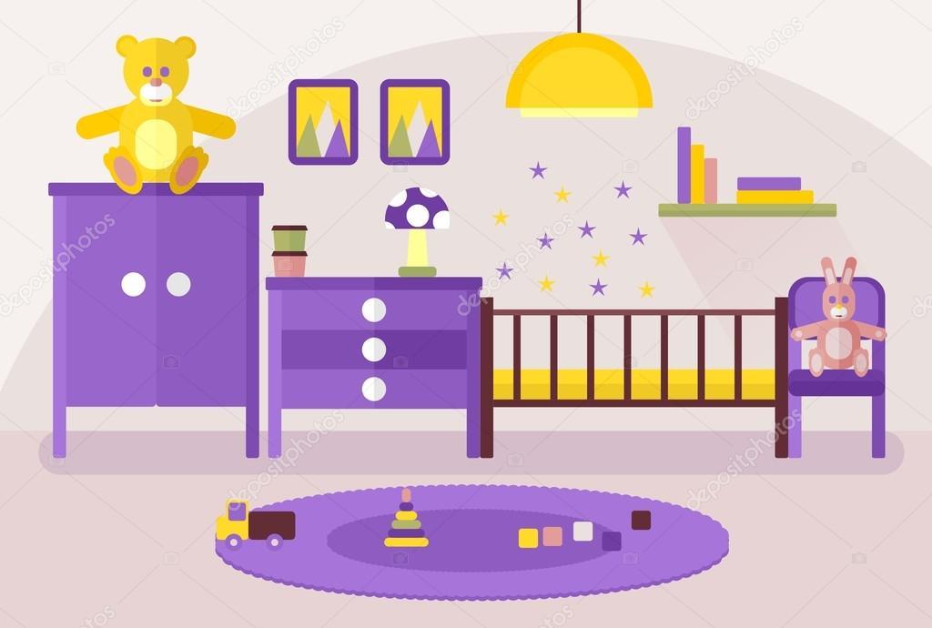 Habitaci n de beb interior con muebles color vector de stock quarta 93106036 - Dibujos habitacion bebe ...