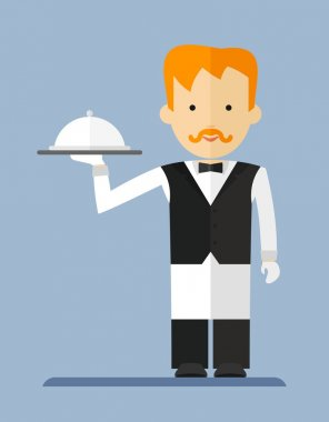 Waiter in a white_apron