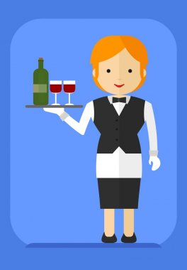 waitress with a bottle on a tray