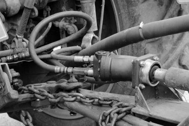 hoses on the outside of the tractor in the Gatchina Leningrad region