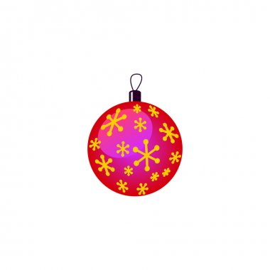 Vector Christmas decorations pink purple ball with gold snowflakes.