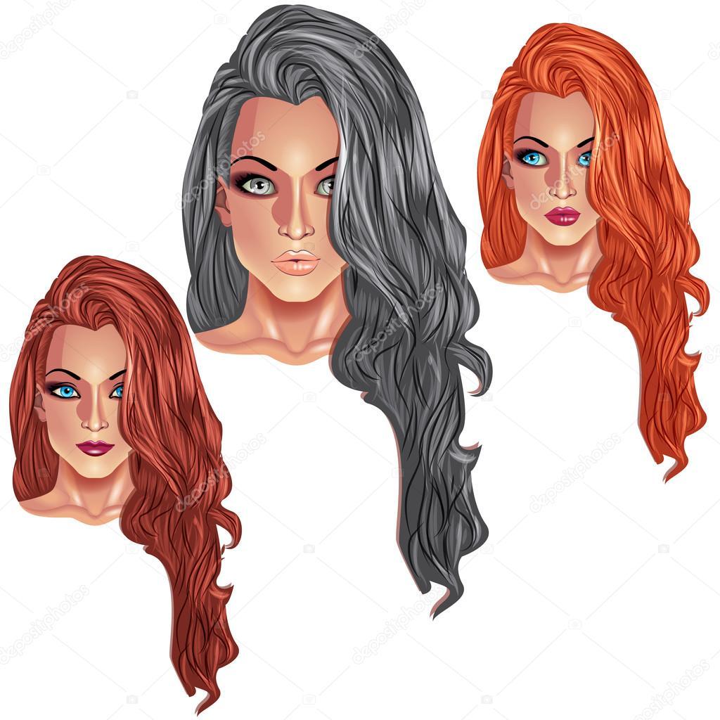 Schöne Mädchen Mit Langen Frisuren Stockvektor Ryzhi 109050168