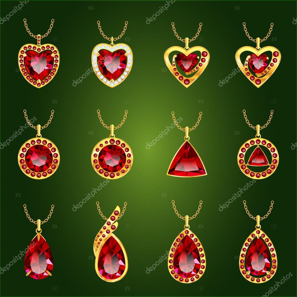 985768d35 Készlet vörös Rubin medálok — Stock Vektor © Ryzhi #109604652