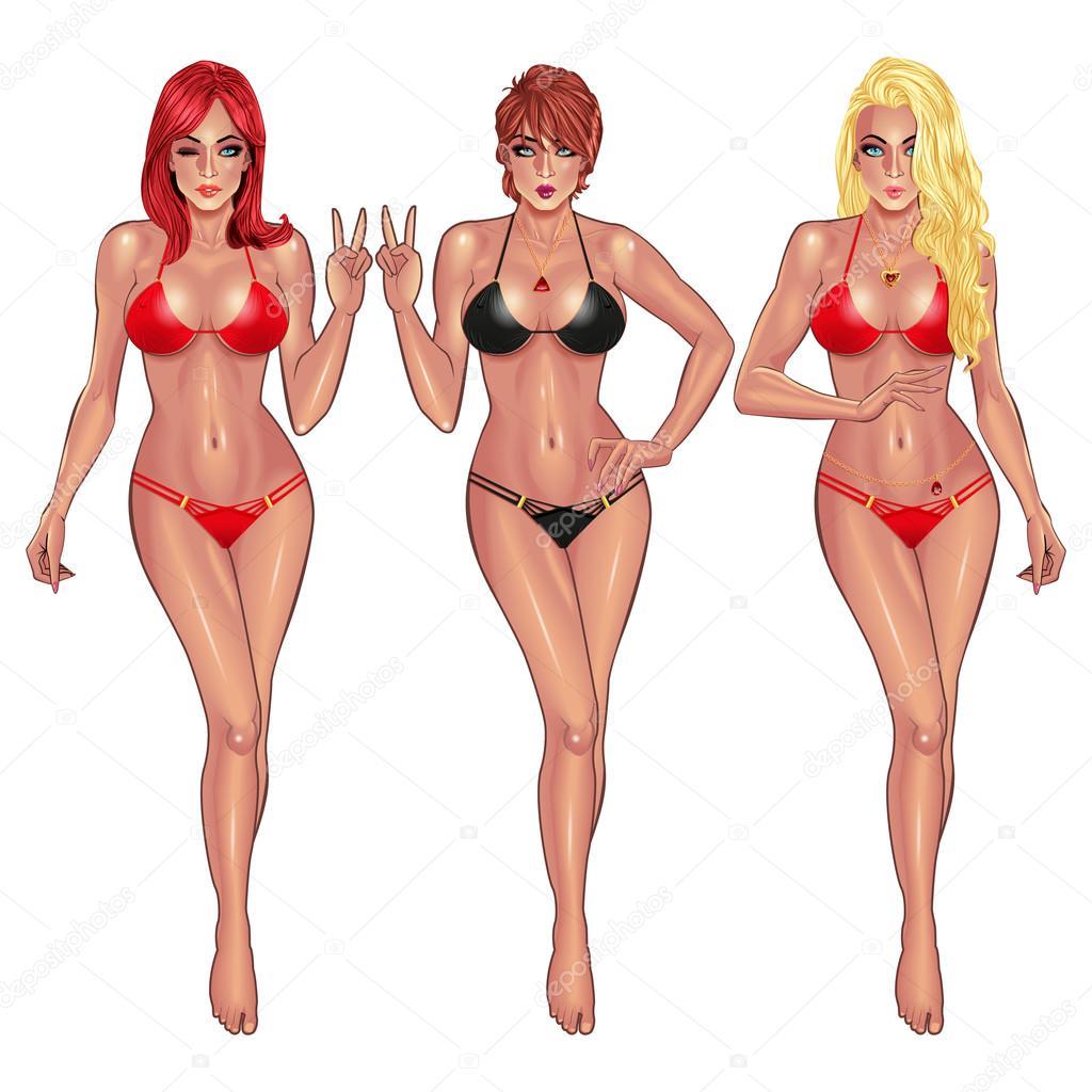 5bf3c28b29 Beautiful young women in bikini isolated on white background Sexy girl.  Beach girl. Summer girl. Bikini girl. Hot girl. Perfect body. Fitness girl.  — Vector ...