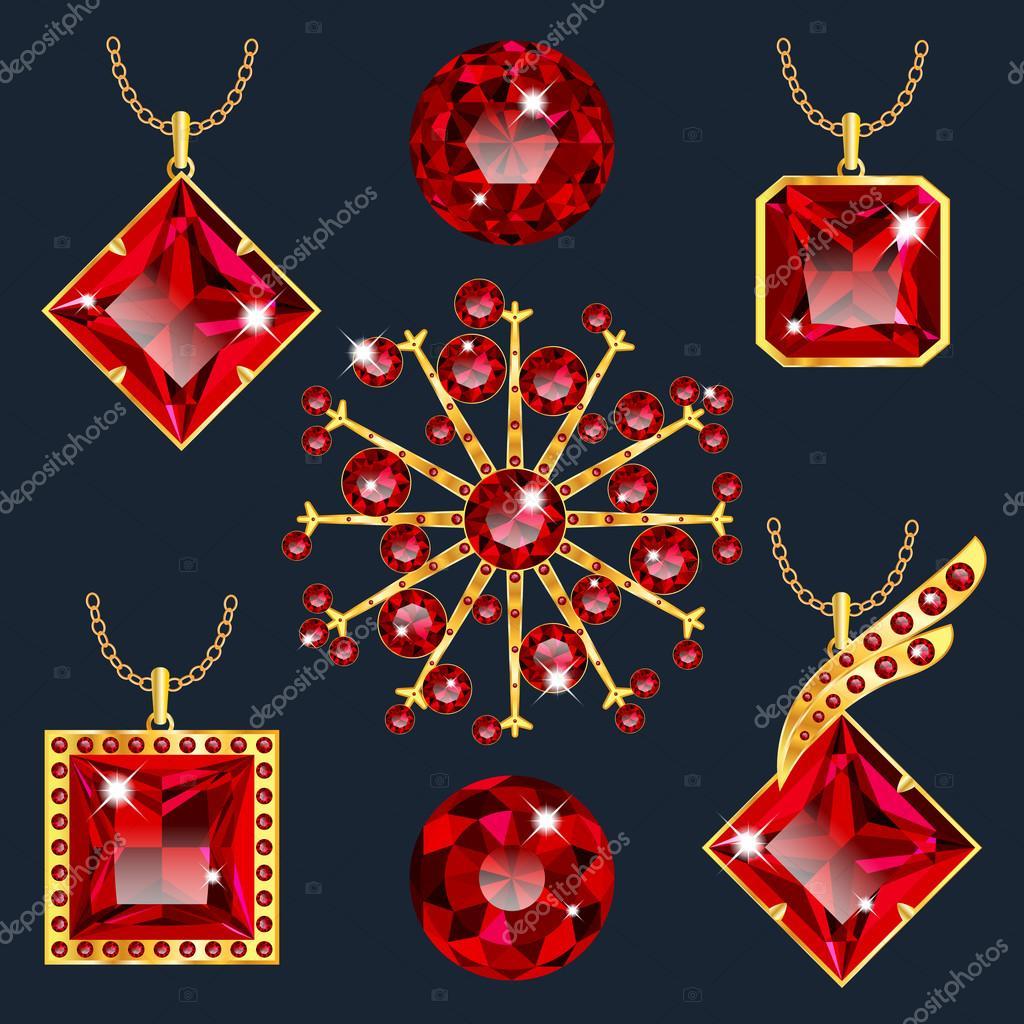 c3490819d Készlet vörös Rubin medálok — Stock Vektor © Ryzhi #111147880
