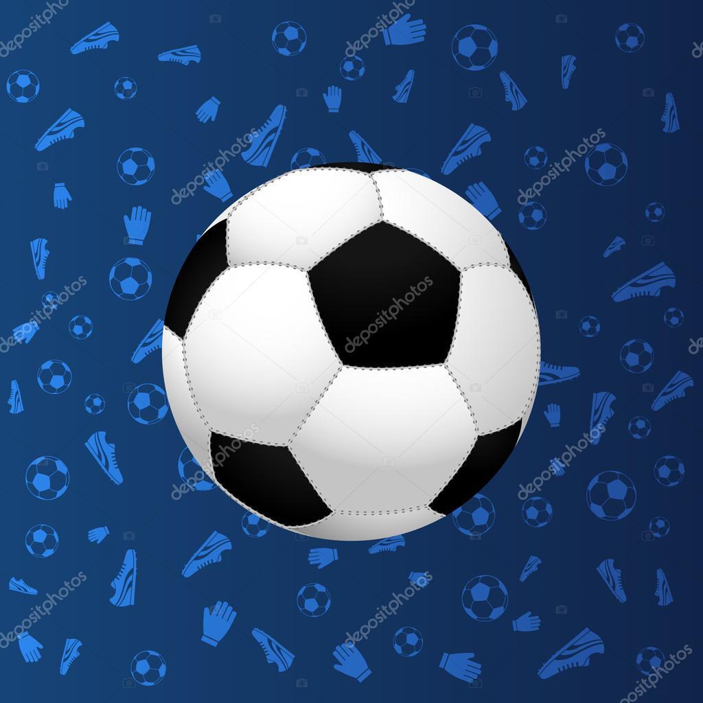 Pallone Da Calcio Su Sfondo Blu Sfumato Vettoriali Stock Ryzhi