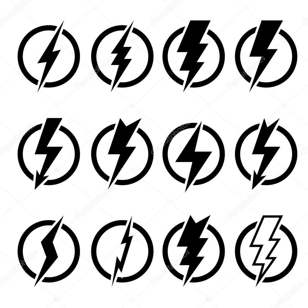 set of black lightning bolts and signs stock vector ryzhi 117138894