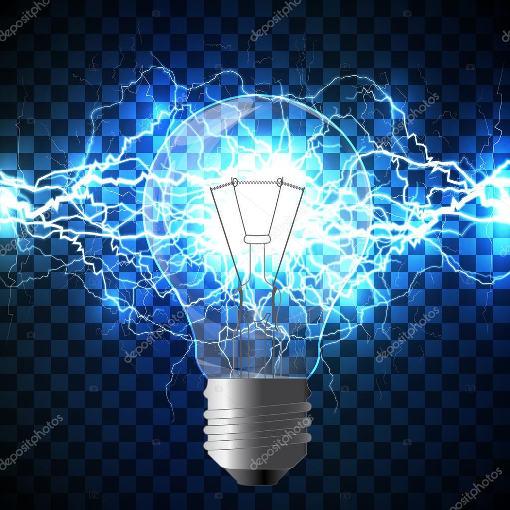 Realistic lightning bolt on blue background  — Stock Vector © Ryzhi