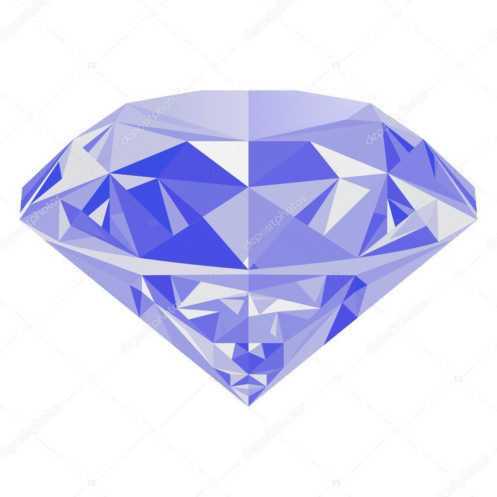 Реалистичные сияющий синий Алмаз драгоценный камень, изолированные на белом  фоне. Красочные драгоценный камень, который может быть использован как  часть ... e8b4858f9bd