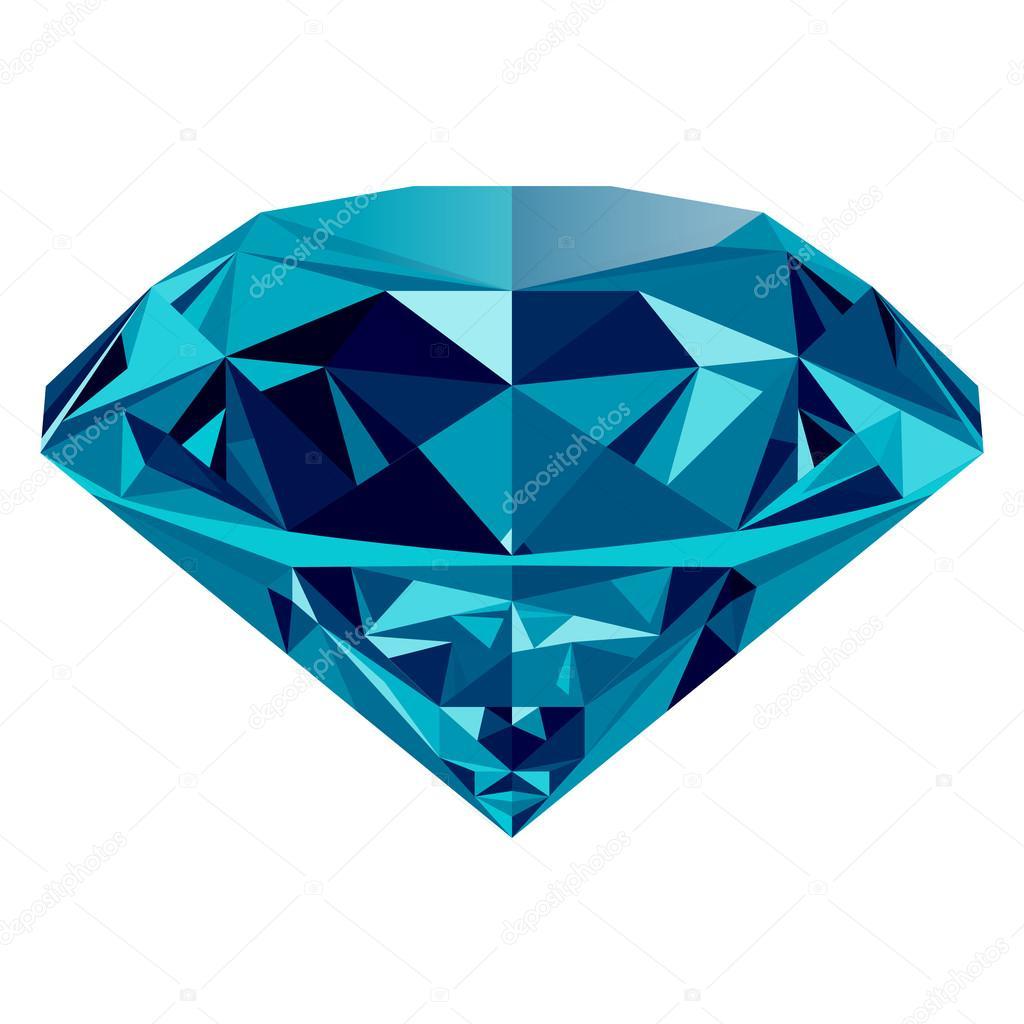 Diamante azul, isolado no fundo branco —  Vetores de Stock
