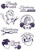 Fotografie Set of badges for beauty and hairdressing salons