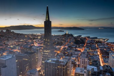 Aerial Views of San Francisco Financial District and Bay at Dusk