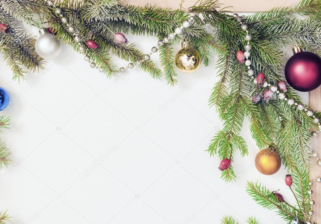 Marco de Navidad con adornos navideños y decoraciones — Fotos de ...