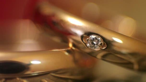 Diamond rings in light close-up