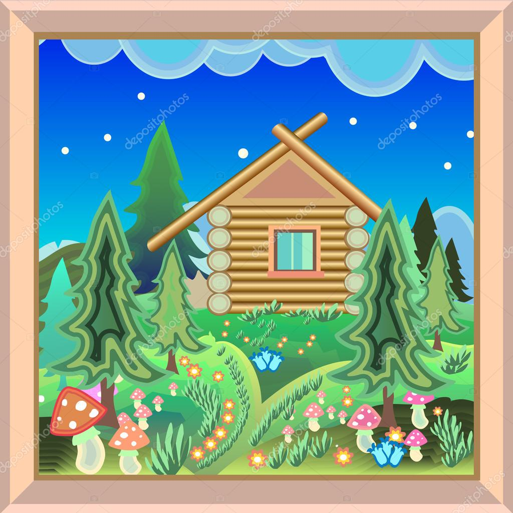 Country House in the magic forest picture in the frame