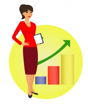 Political strategist is standing on background of the rising graph