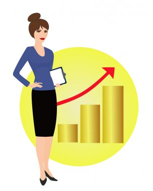 Specialist in public relations on background of rising graph
