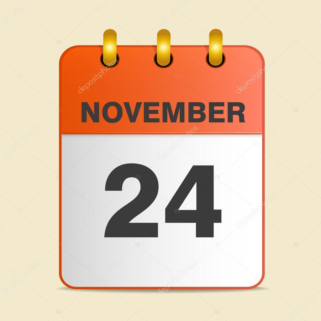 Calendario Giorno.Sul Calendario Il Giorno Del Ringraziamento Vettoriali
