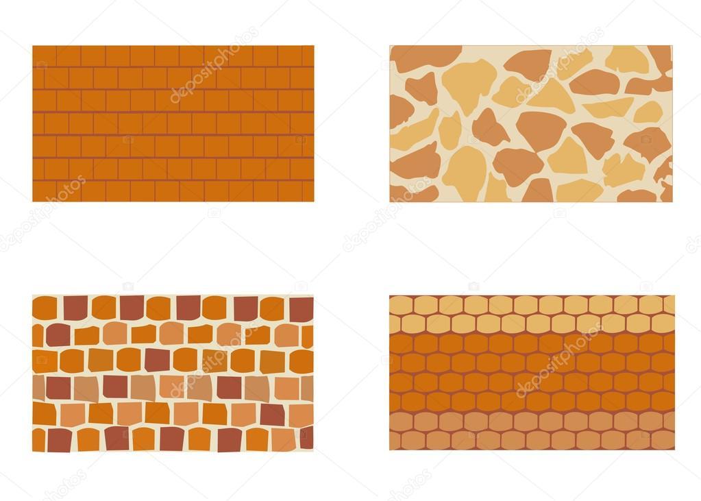 Different Type De Mur différents types de mur de brique en pierre — image vectorielle yulu