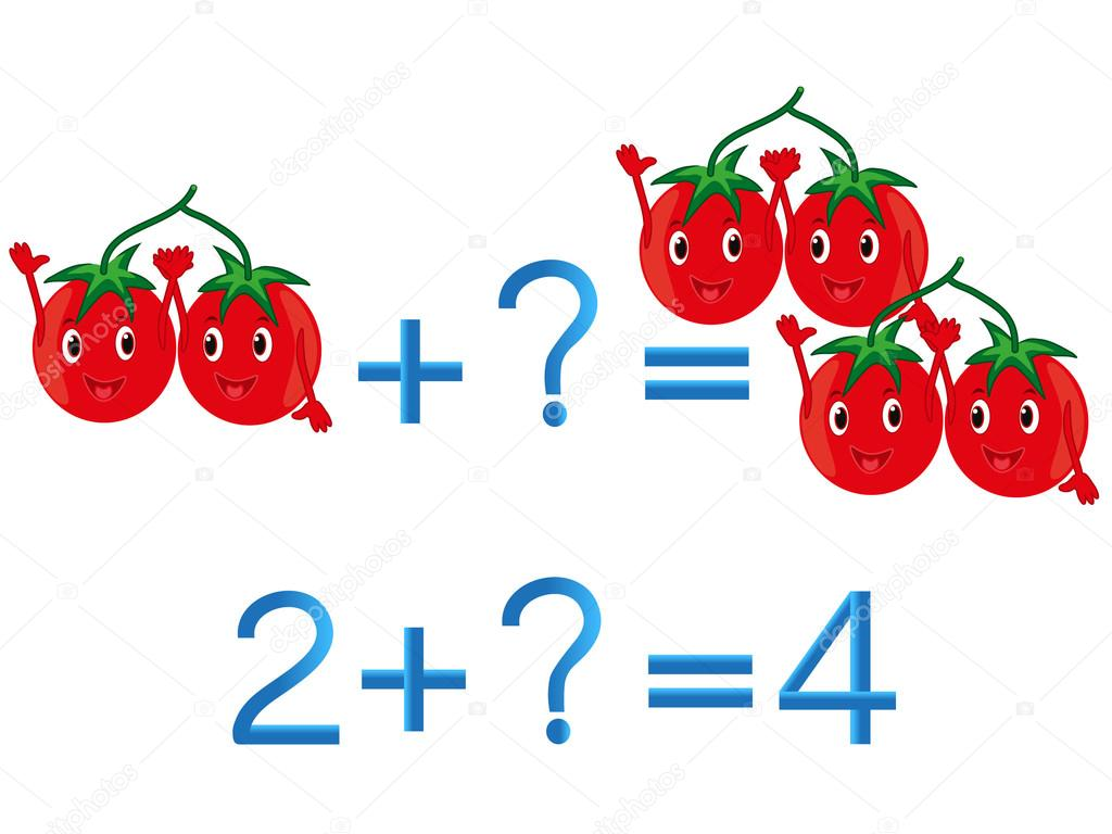 Educational games for children, mathematical addition, example with tomatoes.