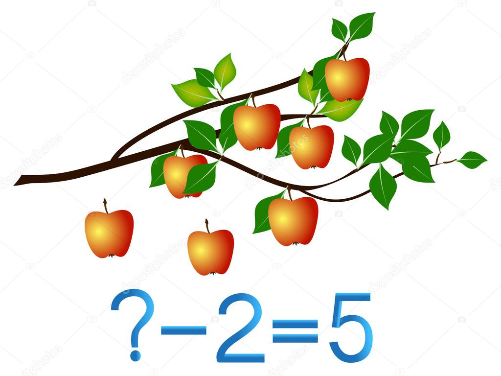 Educational games for children, subtract, apples example.