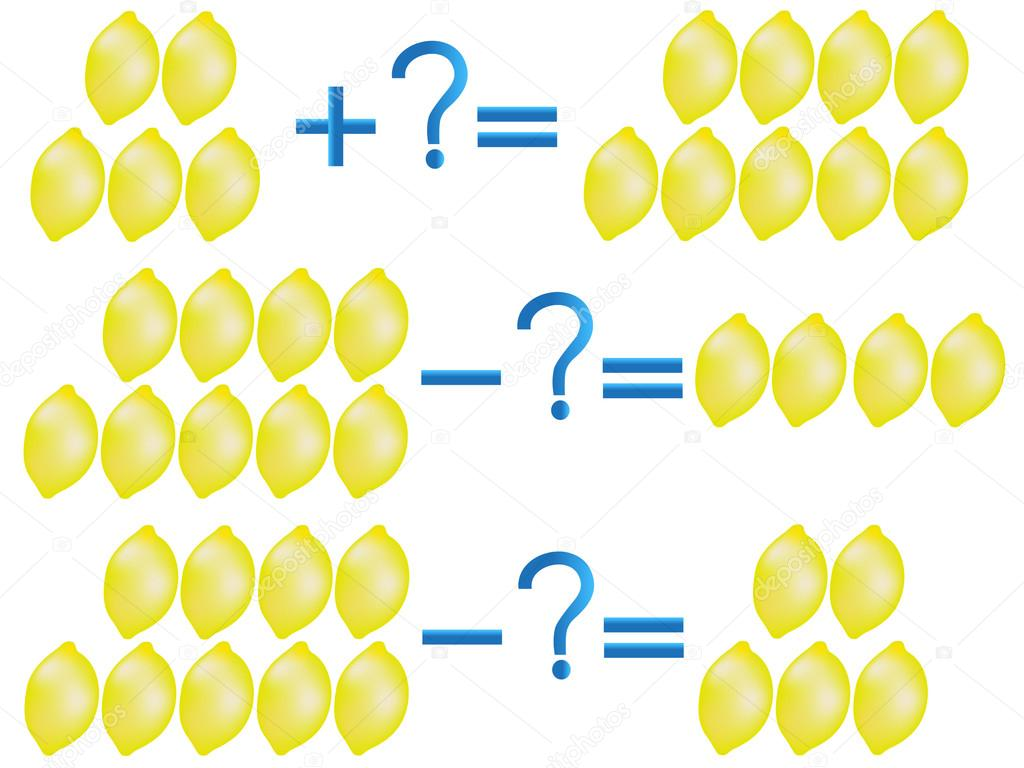 Action relationship of addition and subtraction, examples with lemons.