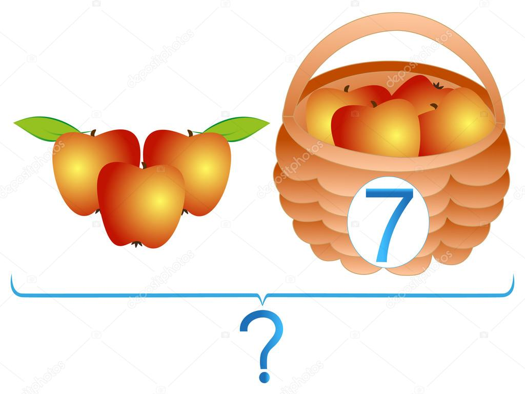 Educational games for children, mathematical addition, examples with apples.