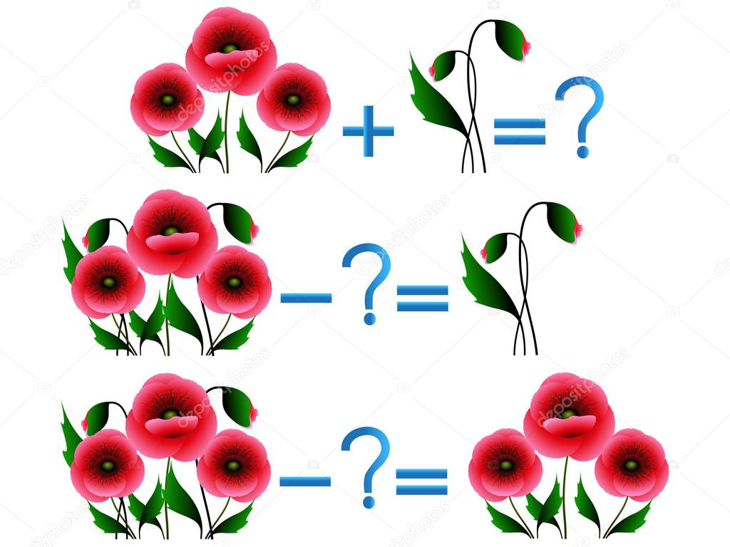 Action relationship of addition and subtraction, examples with flowers.