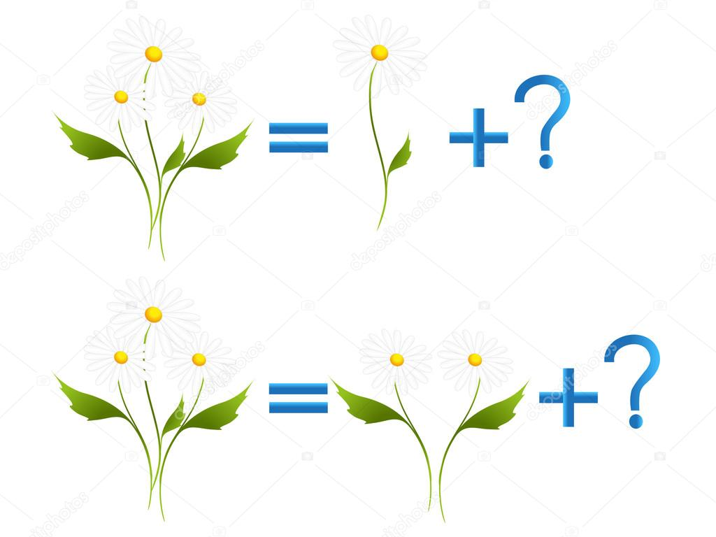 Educational games for children, on the composition of the three, example with daisies.