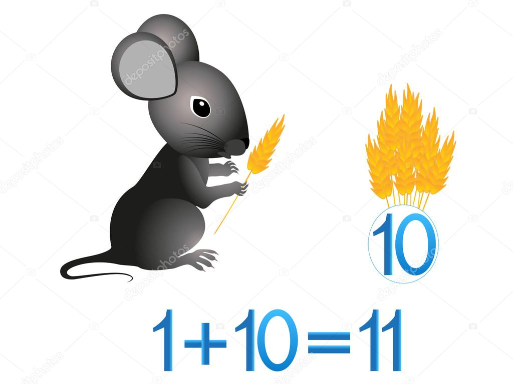 Educational games for children, mathematical addition, example with spikelets.