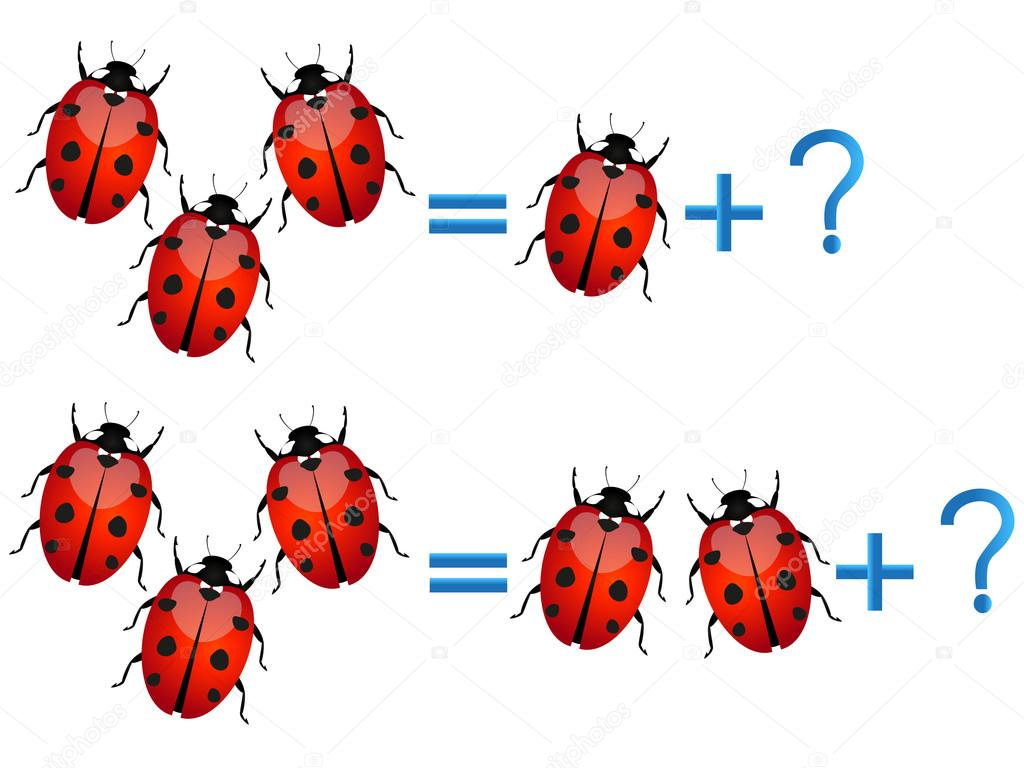 Educational games for children, on the composition of the three, example with ladybirds.