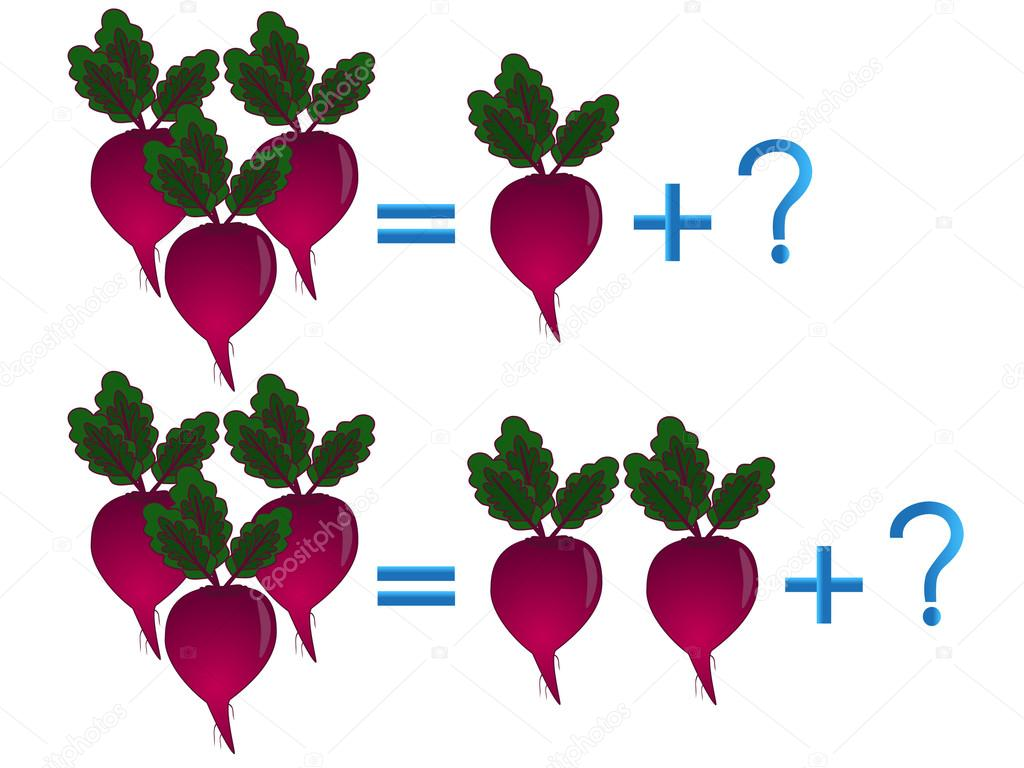 Educational games for children, on the composition of the three, example with beets.