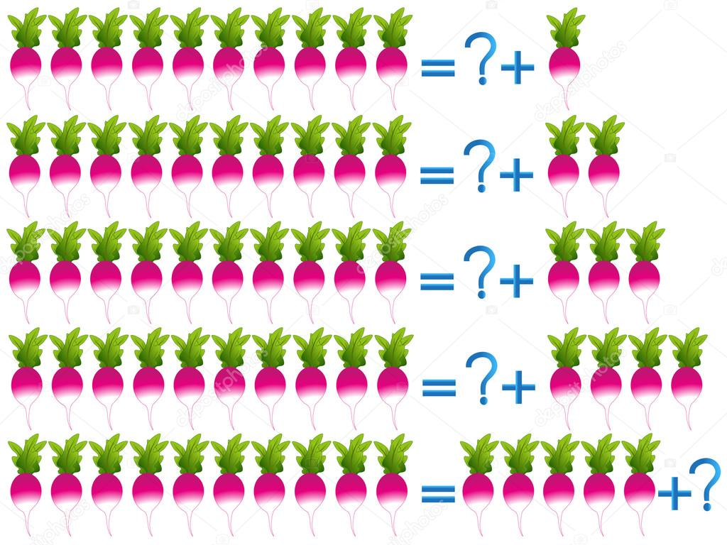 Educational games for children, on the composition of the ten, example radishes.