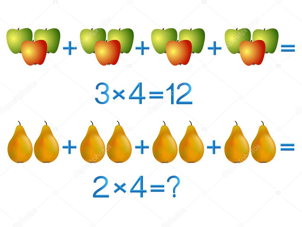 Educational games for children, multiplication action, example with fruits.