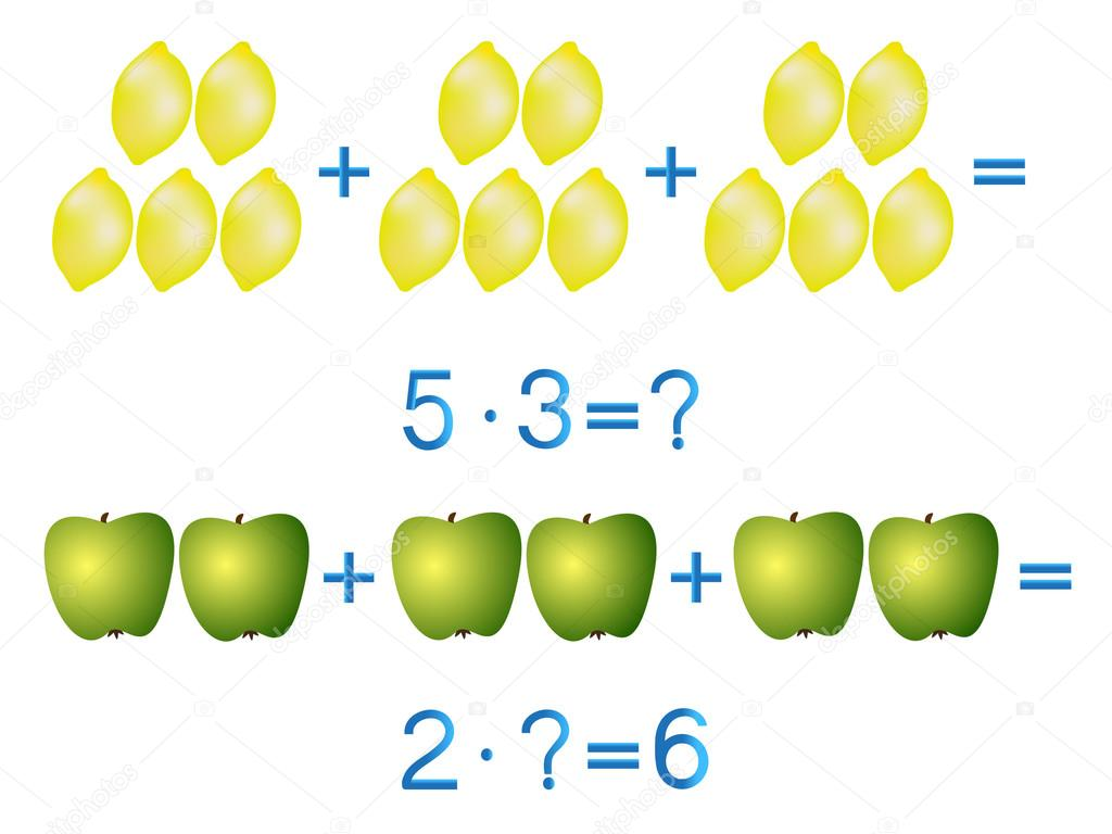 Educational games for children, multiplication action, example with lemons and apples.