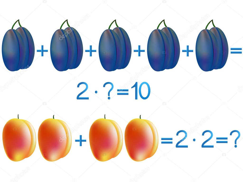 Educational games for children, multiplication action, example with plums and peaches.