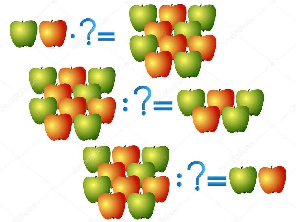 Action relationship of division and multiplication, examples with apples.