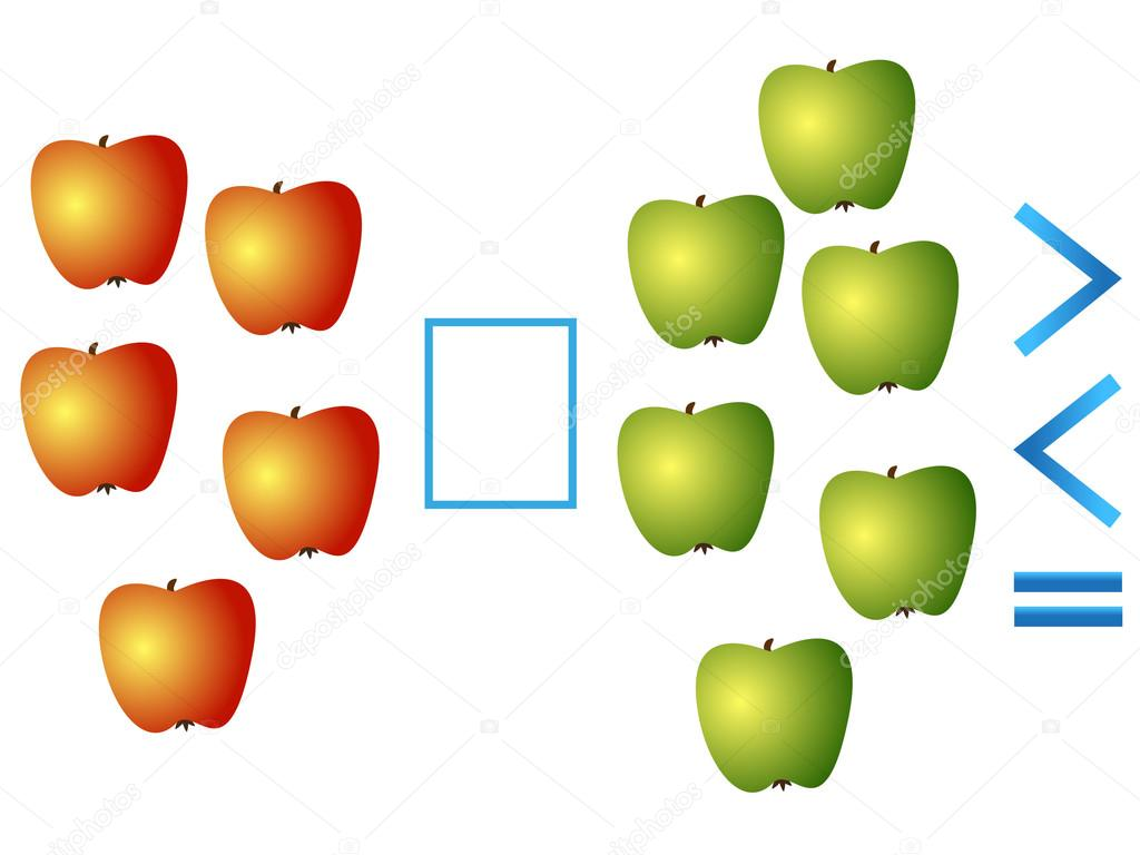 Educational game for children, comparison of the number of apples.